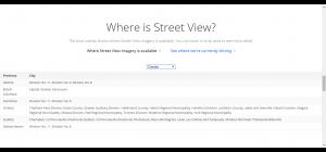 Villes canadiennes visitées actuellement par les Google cars