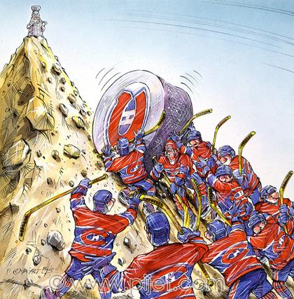 Les caricatures d'André Pijet dans La Presse en 1993 lors de la dernière coupe Stanley.