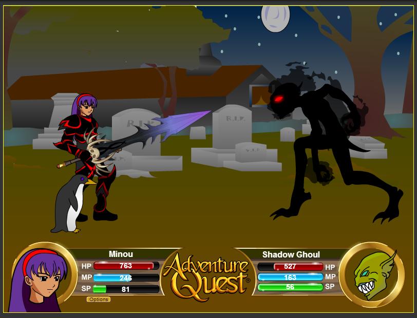 """Graphiques du jeux Flash en ligne AdventureQuest avec mon personnage """"Minou"""""""